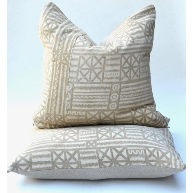 Vintage Traditional Mud Cloth Pillow Pair 24 X 24 For Sale In Los Angeles - Image 6 of 7