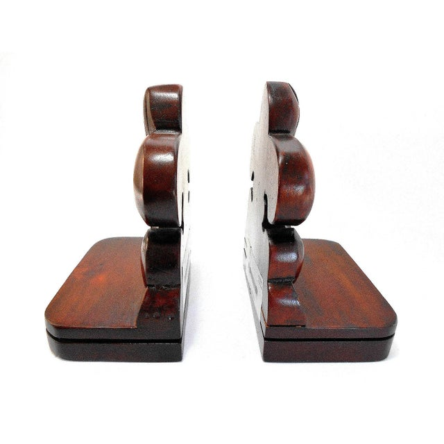 Solid Mahogany Fleur De Lis Bookends For Sale In Chicago - Image 6 of 6