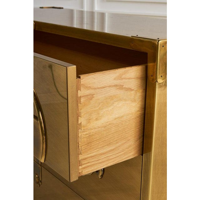 1970s Brass Clad Three Drawer Dresser by Mastercraft For Sale - Image 5 of 7