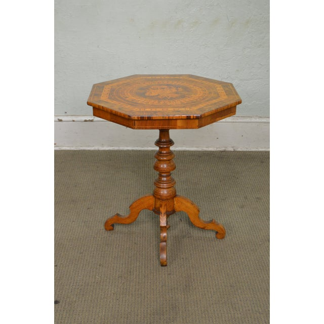 STORE ITEM #: 15323 Antique Italian Walnut Marquetry Inlaid Octagon Top Pedestal Side Table AGE/COUNTRY OF ORIGIN – Approx...