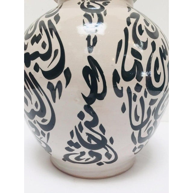 Moroccan Ceramic Lidded Urn With Arabic Calligraphy Lettrism Black Writing For Sale In Los Angeles - Image 6 of 12