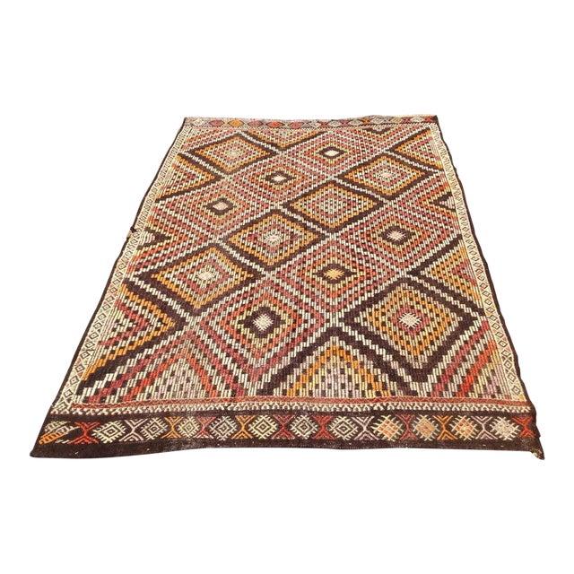 Vintage Turkish Kilim Rug - 6′6″ × 9′ For Sale