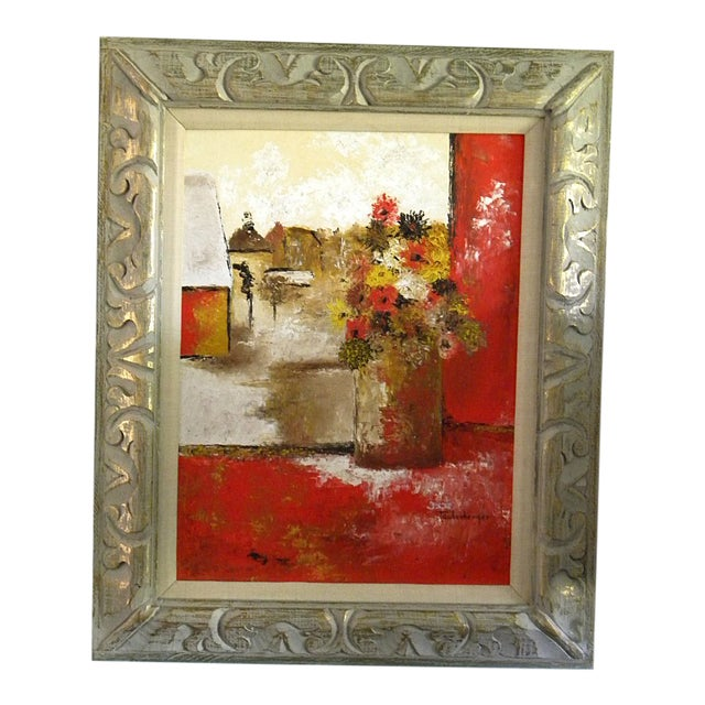 Large Mid-Century Still Life Signed Framed Painting For Sale