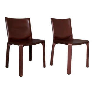 1990s Vintage Mario Bellini for Cassina Cab 412 Chairs- a Pair For Sale
