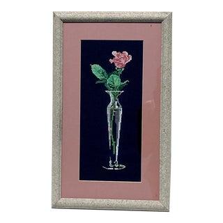 A Single Rose Cross Stitch Framed Sketch For Sale