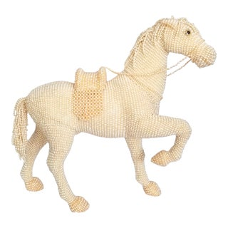 Cream and Peach Pearl Covered Horse Statue For Sale
