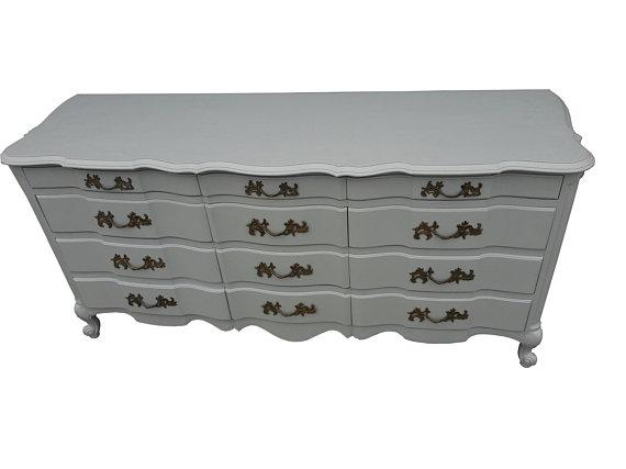Lovely Vintage White Furniture 12 Drawer French Provincial Dresser Updated In French Gray Gustavian Style