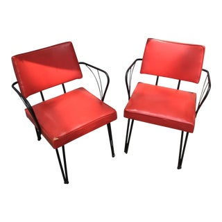 1950s Mid-Century Modern Red Vinyl Atomic Chairs - a Pair