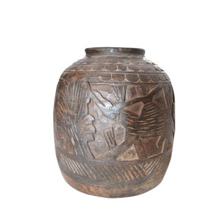 1950s Primitive Wood Carved Tribal Vase