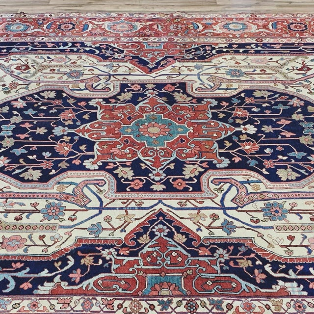 Antique Persian Serapi Heriz Rug- 10′8″ × 16′ For Sale - Image 4 of 11
