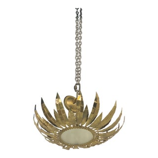 1940s French Sunburst Light Fixture For Sale