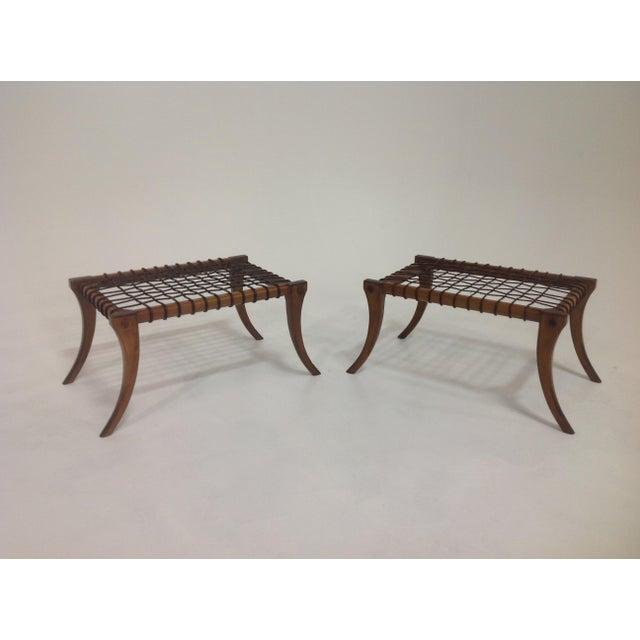 T.H. Robsjohn-Gibbings Klismos Mid-Century Style Walnut & Leather Ottomans - a Pair For Sale - Image 4 of 7