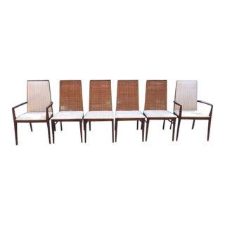 1960s Scandinavian Modern Dillingham Walnut Dining Chairs - Set of 6 For Sale
