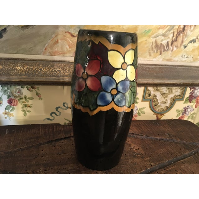German Pottery Art Deco Majolica Style Vase For Sale - Image 6 of 13