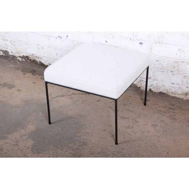 Contemporary Paul McCobb Mid-Century Modern Upholstered Iron Stool or Ottoman, Newly Restored For Sale - Image 3 of 7
