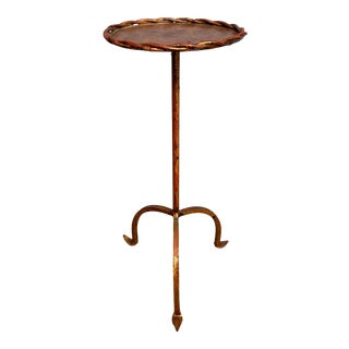 Small Spanish Gilt Iron Martini Side Table For Sale
