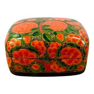 Vintage Kashmiri Floral Papier-Mâché Lacquer Box For Sale