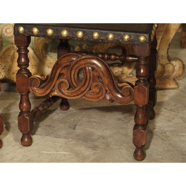 Pair of Antique Oak, Leather, and Brass Side Chairs From Portugal, 19th Century For Sale - Image 4 of 13