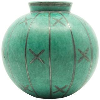 Gustavsberg Argenta Silver Overlay Geometric Design Vase For Sale