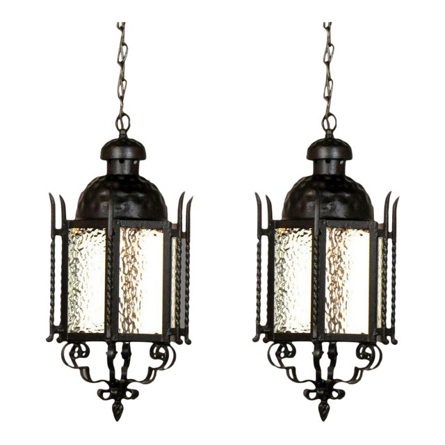 Pair of Iron Exterior Lanterns For Sale