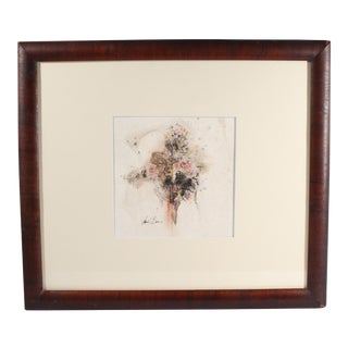 Mid 20th Century Charles E. Barnes Signed Abstract Mixed Media Drawing For Sale