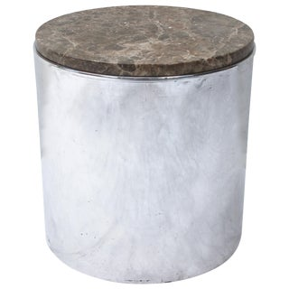 Pair of Paul Mayen Polished Steel and Marble Side Tables For Sale