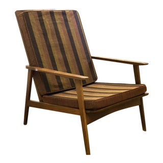 Mid Century Modern Walnut High Back Slat Back Lounge Chair For Sale