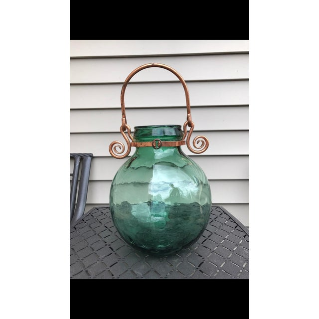 Vintage Viresa Carboy Hand Blown Glass With Handle For Sale - Image 4 of 4