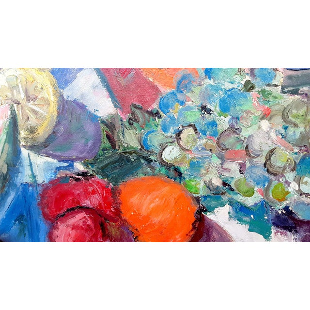 """Canvas Mid Century Abstract Still Life """"Table With Fruit"""" Oil Painting For Sale - Image 7 of 13"""