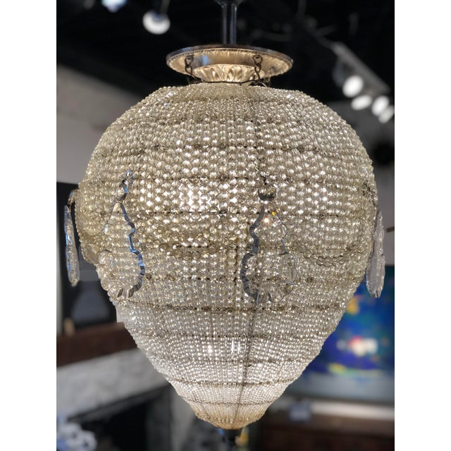 Hollywood Regency French Inverted Pear Form Beaded Chandelier Circa 1900 For Sale - Image 3 of 6