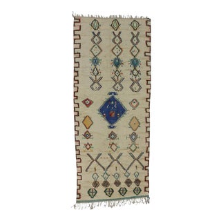Vintage Berber Moroccan Azilal Runner with Light Colors and Tribal Style For Sale