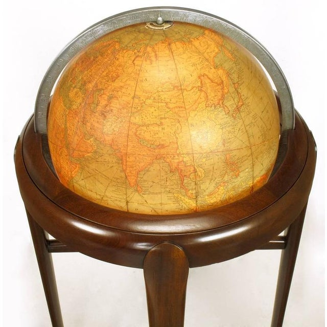 Replogle Illuminated Glass Globe on Mahogany Articulated Stand, circa 1940s - Image 7 of 10