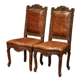 Pair of 19th Century French Louis XV Carved Walnut Chairs With Embossed Leather For Sale
