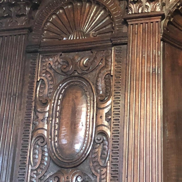 Hand-Carved Renaissance Style Wood Mantel with Trumeau For Sale - Image 4 of 9