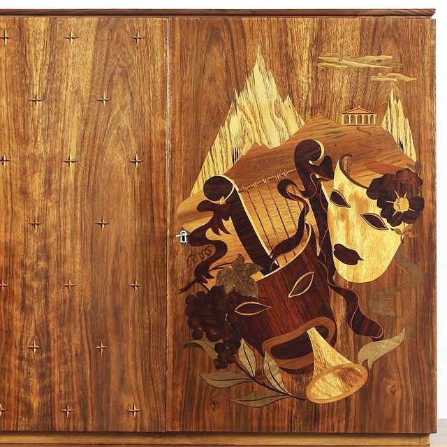 1940s 1940´s Small Two Blocks Dry Bar, walnut, allegorical scene marquetry - Italy For Sale - Image 5 of 9