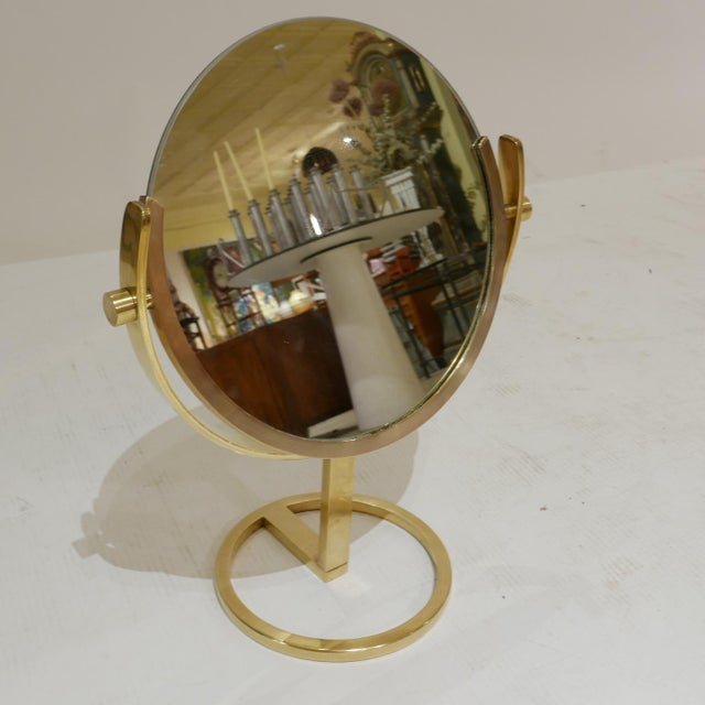 1970s Brass Vanity Table Top Mirror by Charles Hollis Jones For Sale - Image 5 of 7