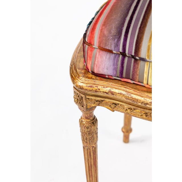 19th C. French Giltwood Side Chair With Donghia Stripped Silk Velvet For Sale In Los Angeles - Image 6 of 10