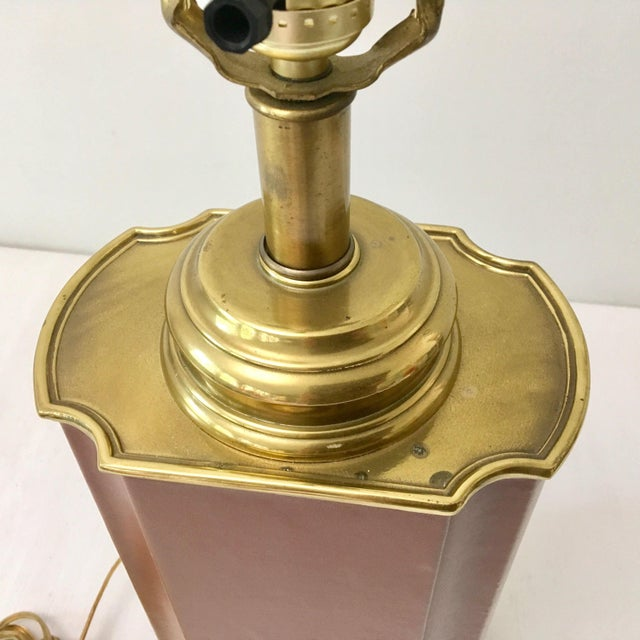 1980s Vintage Brass and Brown Leather Tea Caddy Style Table Lamp For Sale - Image 5 of 11