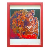 """Image of Andy Warhol Estate Vintage 1989 Endangered Species Framed Lithograph Print """" Siberian Tiger """" 1983 For Sale"""