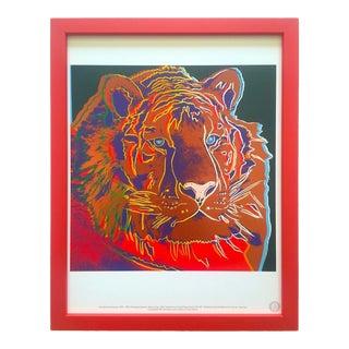 """Andy Warhol Estate Vintage 1989 Endangered Species Framed Lithograph Print """" Siberian Tiger """" 1983 For Sale"""