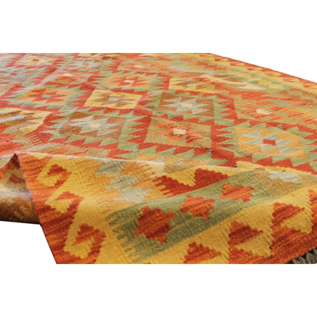 "2010s Modern Geometric Kilim, 4'4"" X 6'11"" For Sale - Image 5 of 7"