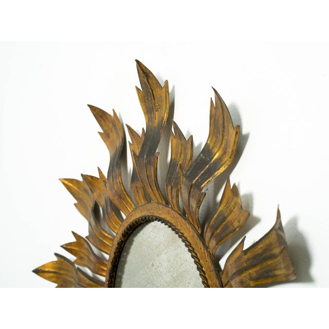 Hollywood Regency Gilt Metal Sunburst Mirror For Sale - Image 3 of 8