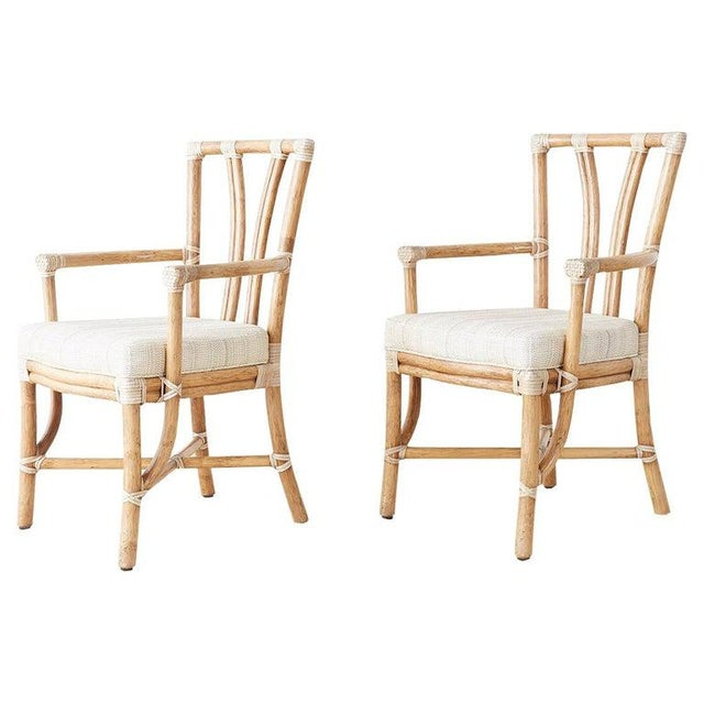 Pair of McGuire Organic Modern Bamboo Rattan Armchairs For Sale - Image 13 of 13