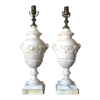 1940s Neoclassic Alabaster Table Lamps - a Pair For Sale