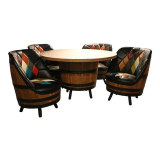 Harlequin Whiskey Barrel Table and Chairs - 5 Pieces For Sale