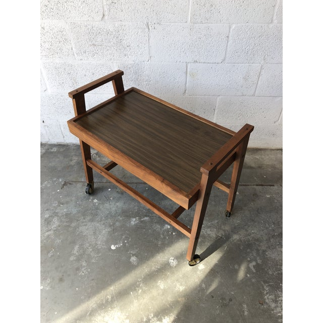 Mid-Century Modern Vintage Mid Century Modern Danish Style Rolling Media Cart For Sale - Image 3 of 13
