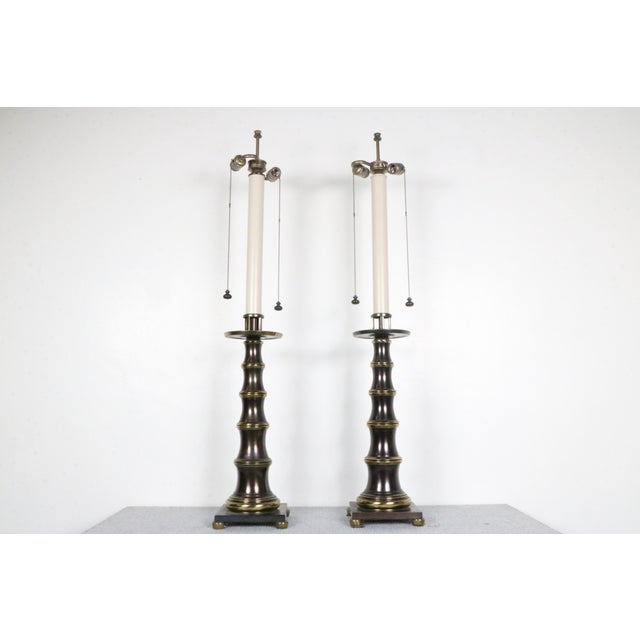 Stiffel Bronze Table Lamps - A Pair - Image 2 of 4