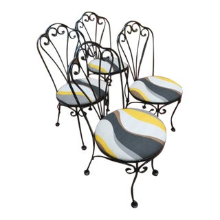 Vintage Mid Century Modern Wrought Iron Chairs- Set of 4 For Sale