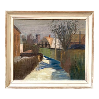 """1948 """"The River Through Town"""" Modern European Village Oil Painting, Framed For Sale"""