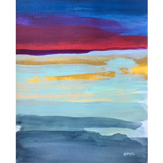 "Contemporary Landscape ""Sunset Color Study I"" Painting by Angela Seear, Small For Sale"
